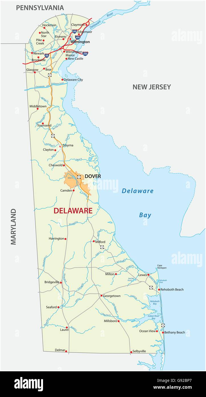 Delaware State Map Stock Photos Delaware State Map Stock Images - Us-map-delaware-state