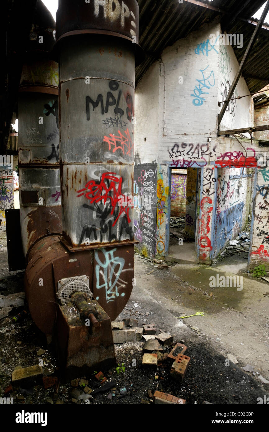 Graffiti And Vandalism In Abandoned Derelict Industrial Building