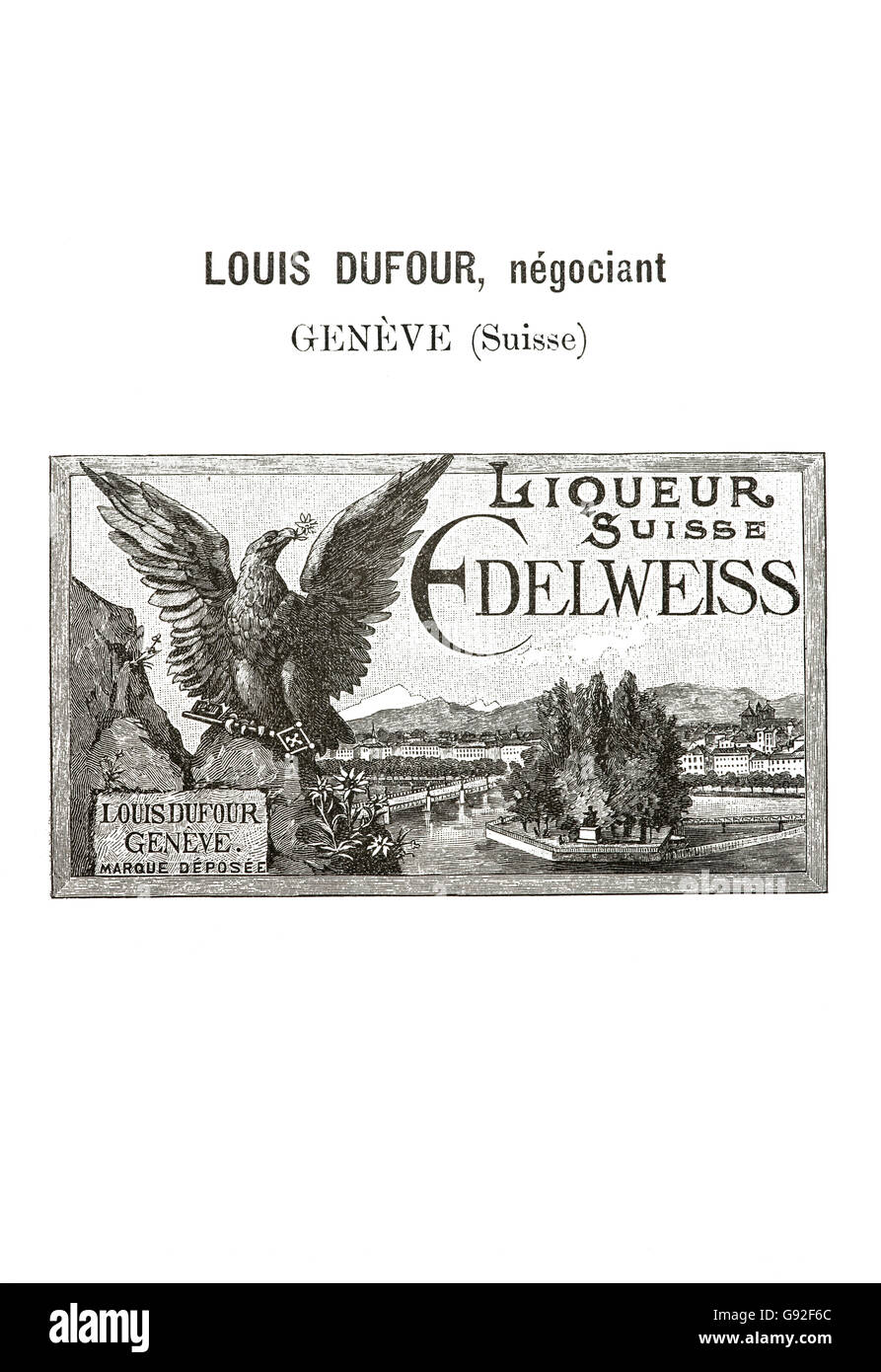 Historical trademark for Swiss Edelweiss liqueur marketed by the Geneva retailer Louis Dufour from 1894, Switzerland - Stock Image