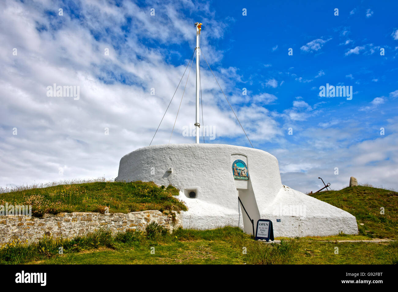 Visitor centre in the former coastguard lookout, Burghead, Moray, Scotland, Great Britain - Stock Image