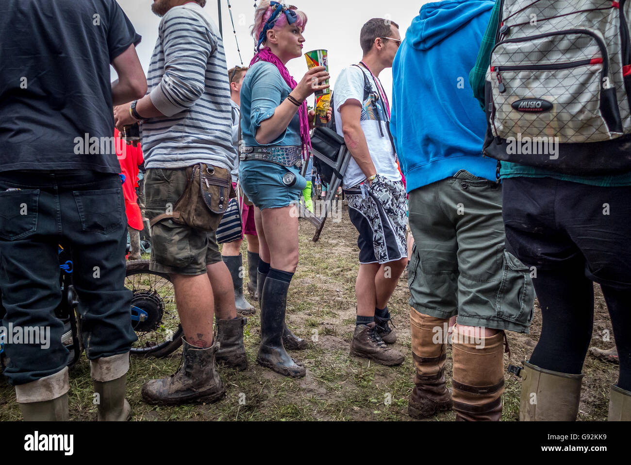 A reveller at William's Green at The 2016 Glastonbury Festival of Contemporary Performing Arts. - Stock Image