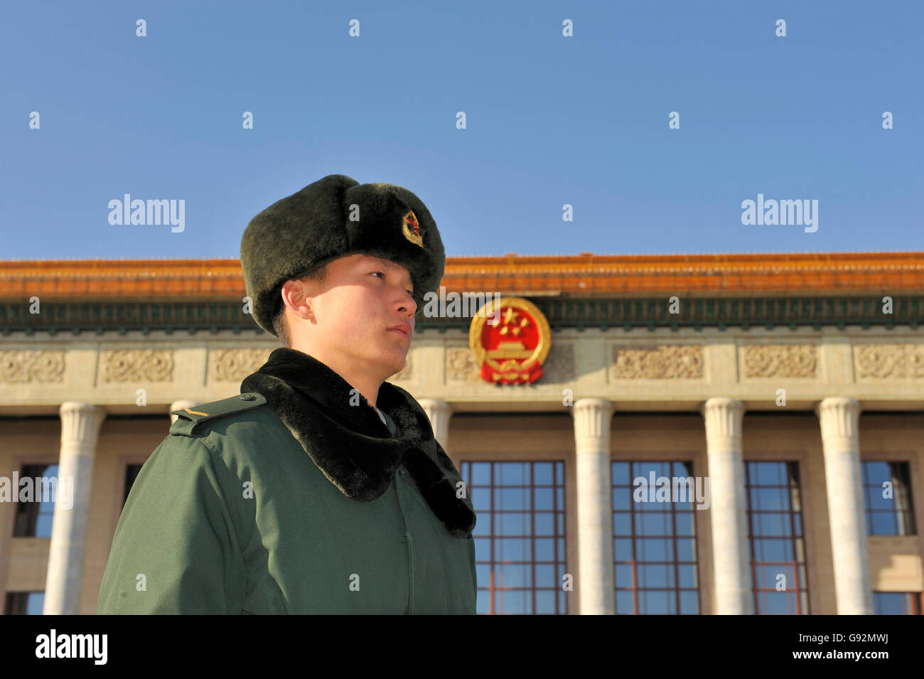 BEIJING, DECEMBER 14, 2010; Sentry in front of The Great Hall of the People , ( National Congress ) Stock Photo