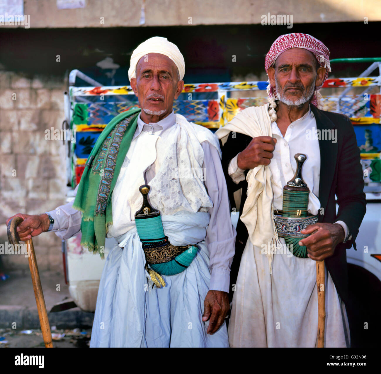 Hababah,Yemen- April 23, 2011; Two men with the traditional jambiya. April 23, 2011 Hababah - Stock Image