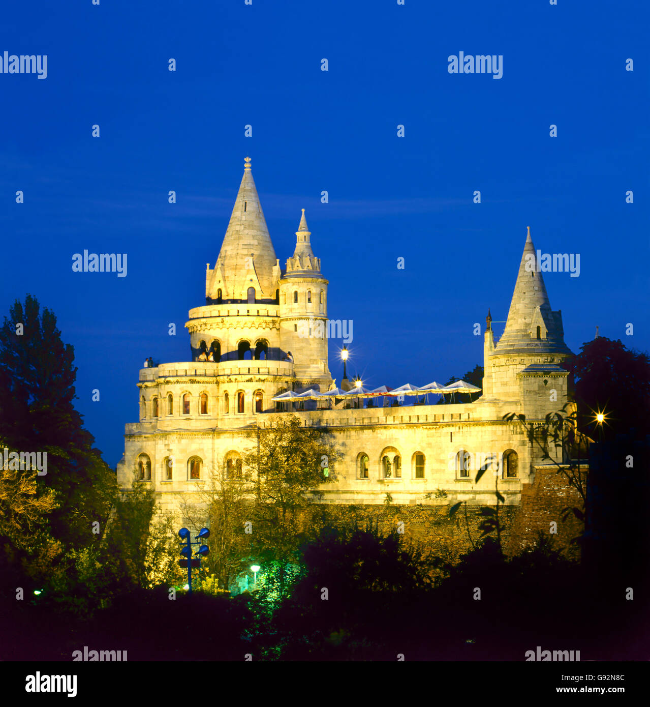 Fishermen's Bastion by night in Budapest , Hungary - Stock Image