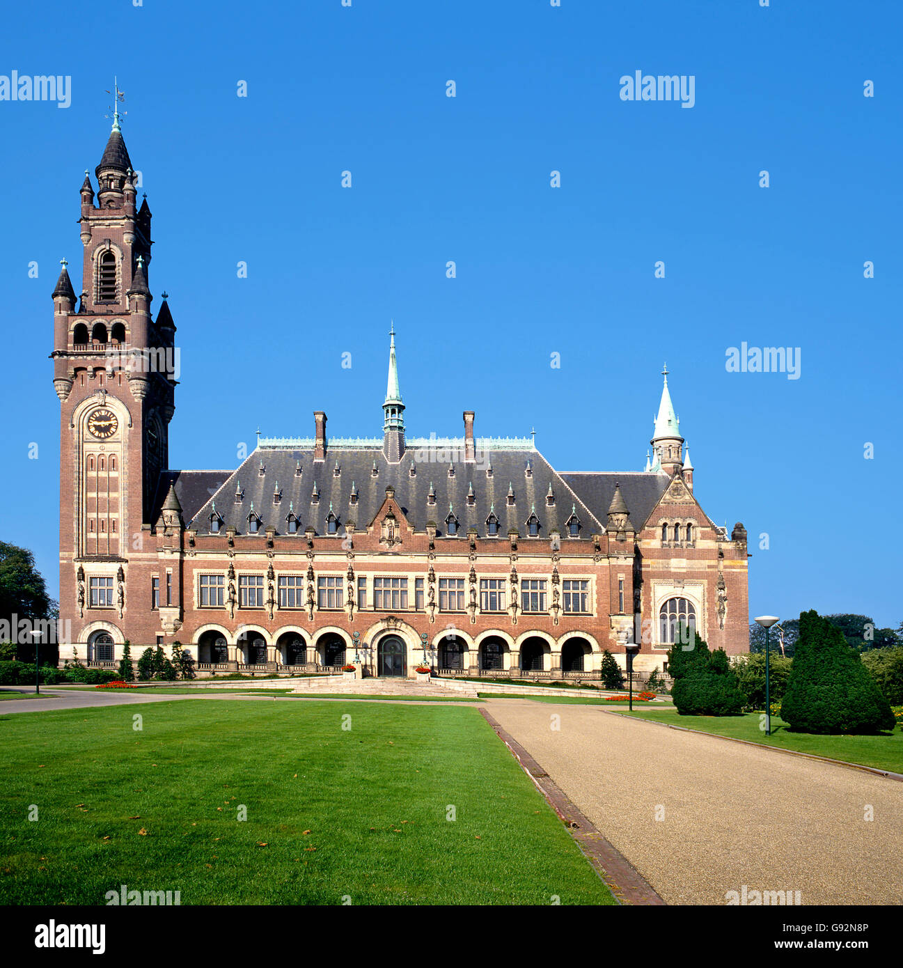 The Peace Palace in The Hague( Holland) is home to a number of international judicial institutions, including the - Stock Image