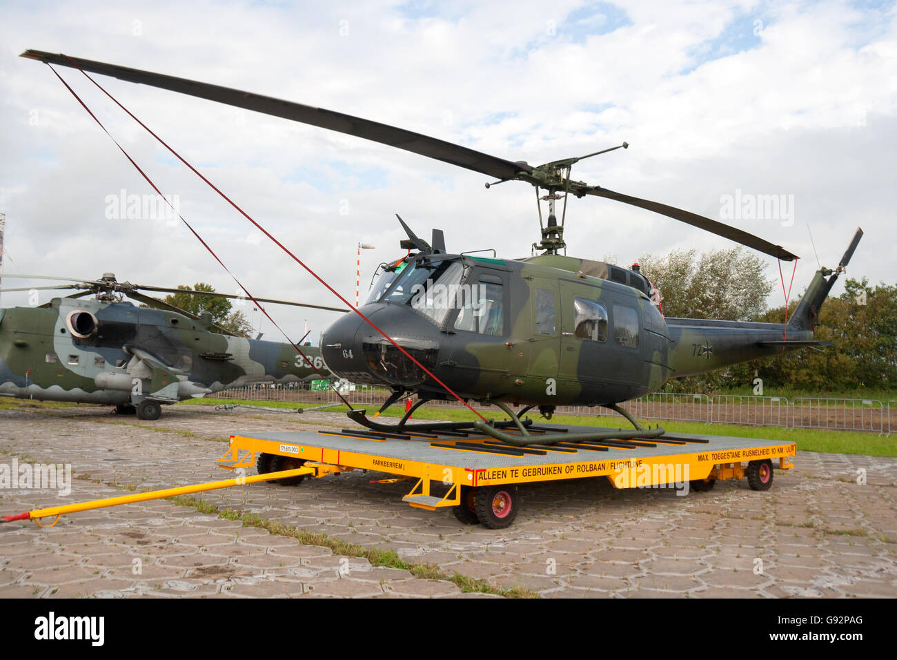 German Army UH-1D Huey helicopter. - Stock Image