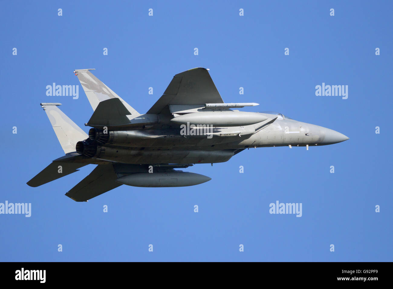 California Air National Guard F-15 take off from Leeuwarden airbase. - Stock Image