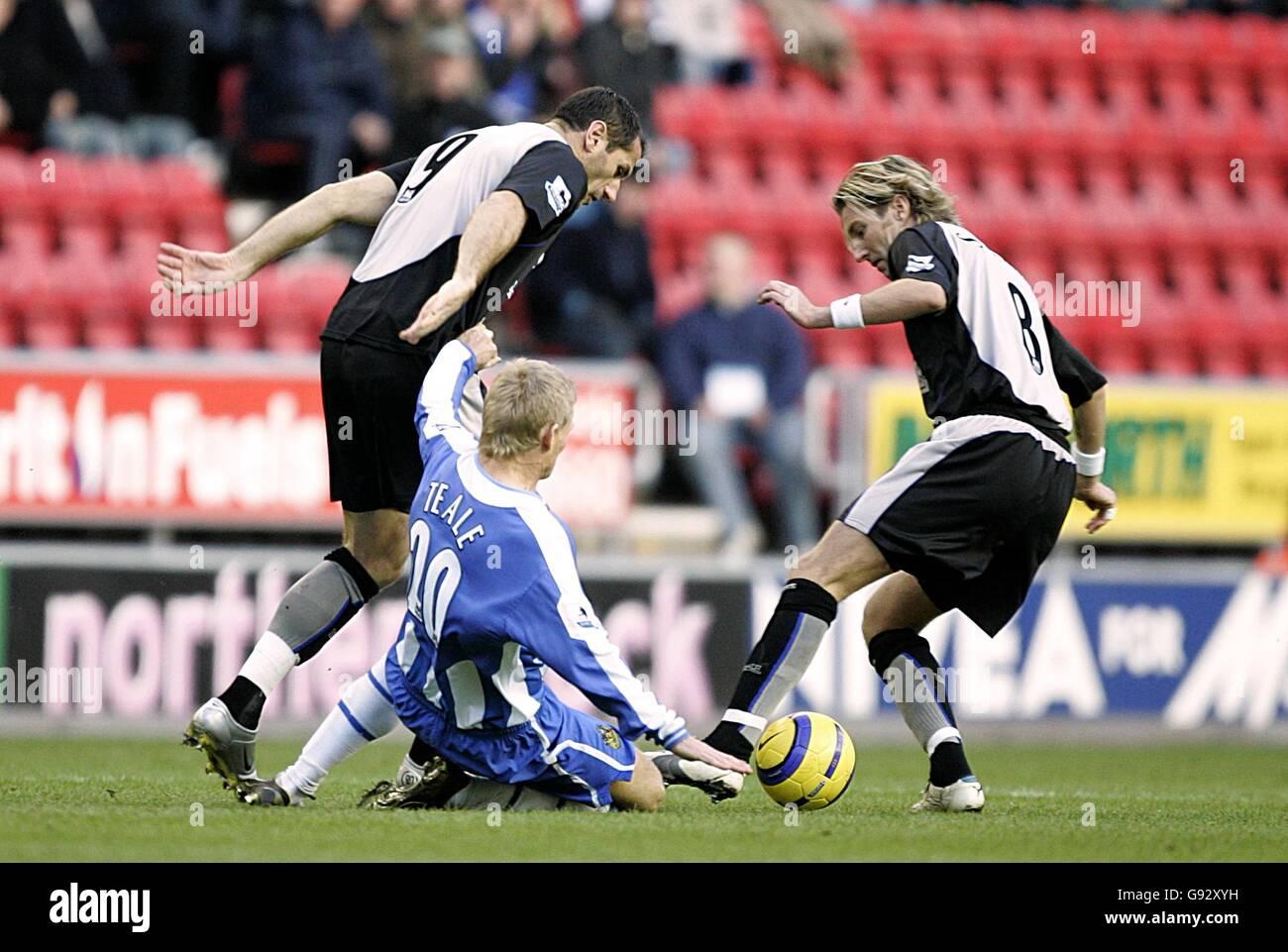 Soccer - FA Barclays Premiership - Wigan Athletic v Blackburn Rovers - The JJB Stadium - Stock Image