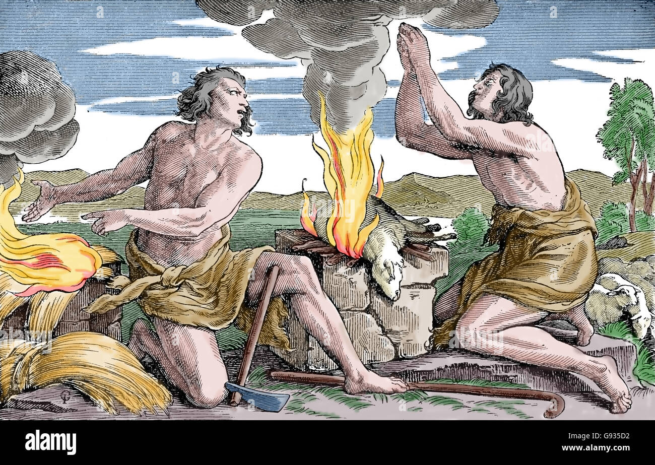 The offerings of Cain and Abel. Abel the shepherd's sacrifice is more successful than Cain the farmer. Old Testament. Stock Photo