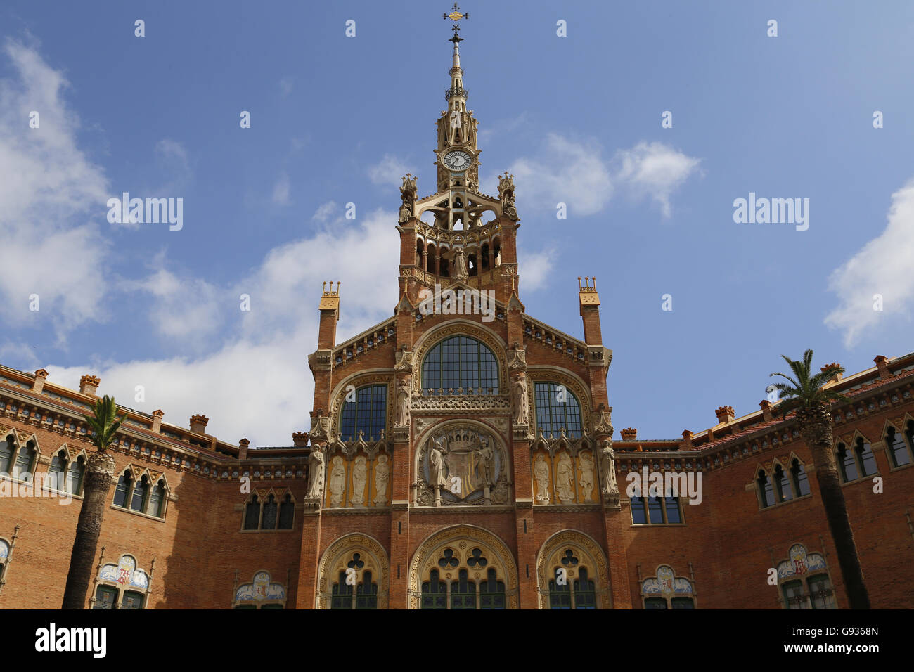 Hospital of the Holy Cross and Saint Paul. Built 1901-1930. Designed by modernist architect Lluis Domenech i Montaner - Stock Image