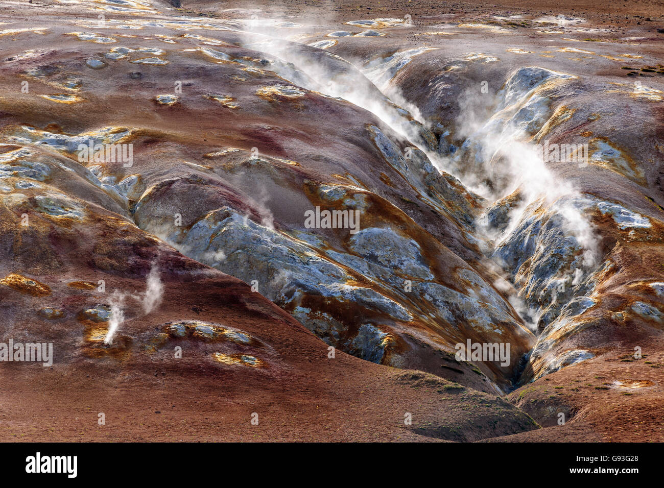 Solfataras, steam vents in the geothermal area of ​​Hverarönd, Namafjall, Island - Stock Image
