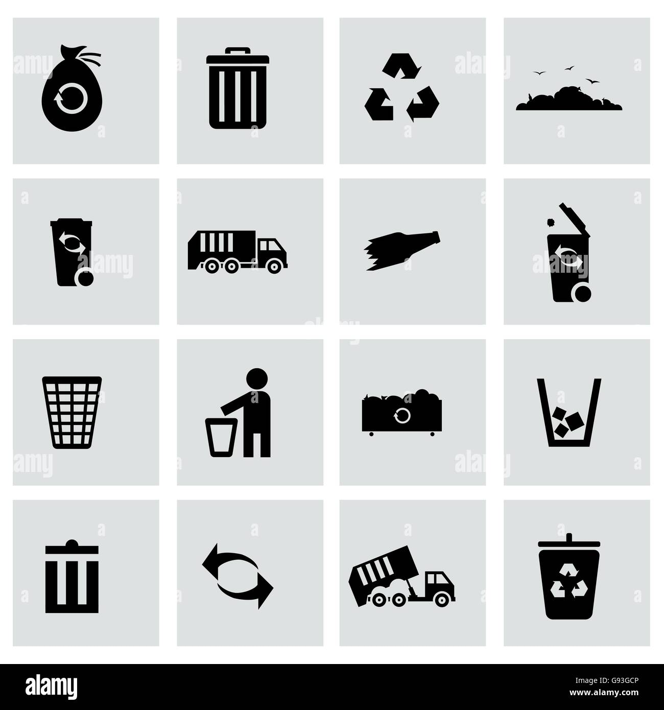 Vector black garbage icons set - Stock Vector