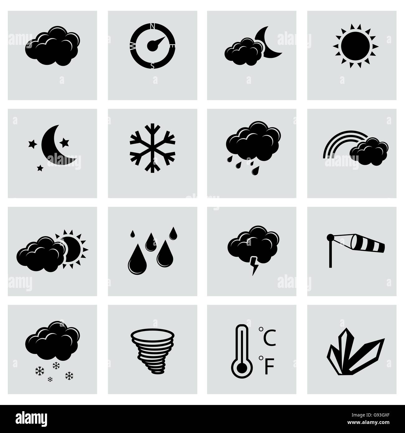 Vector black weather icons set - Stock Image