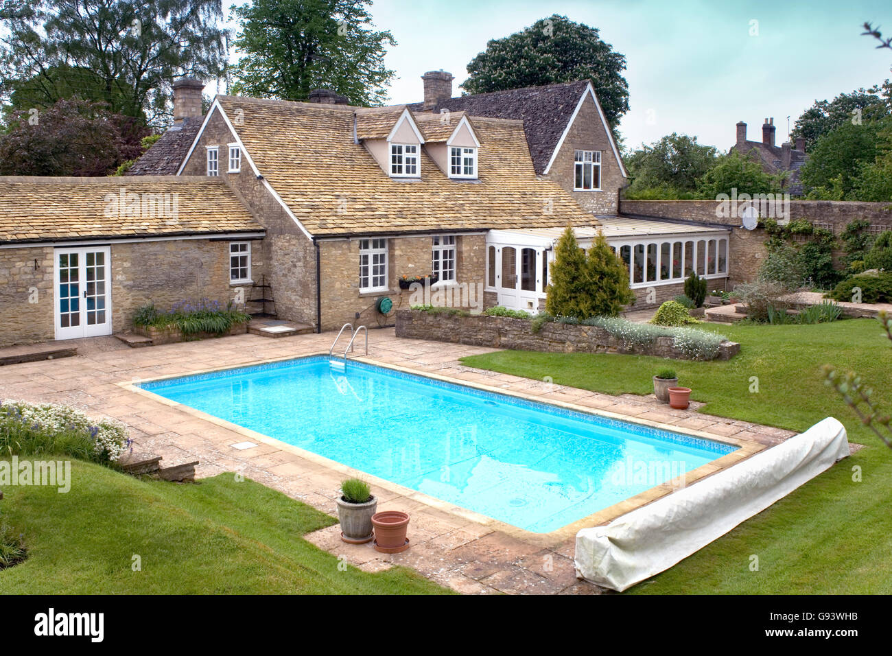 Uk An Outdoor Swimming Pool In The Garden Of A Large House For Stock Photo Alamy