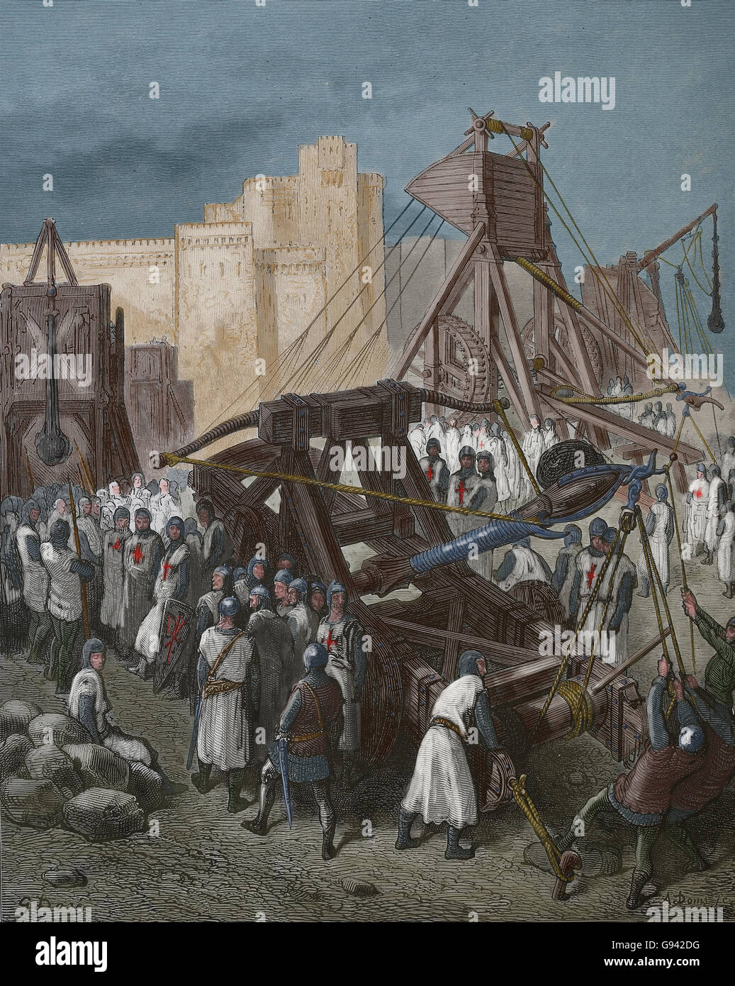 The Crusades of Gustave Dore.1st Crusade (1096-1099). Siege of Jerusalem. Engraving, 19th century. Later colouration. - Stock Image