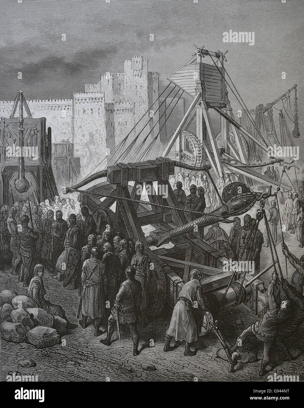 The Crusades of Gustave Dore. 1st Crusade (1096-1099). Siege of Jerusalem. Engraving, 19th century. - Stock Image