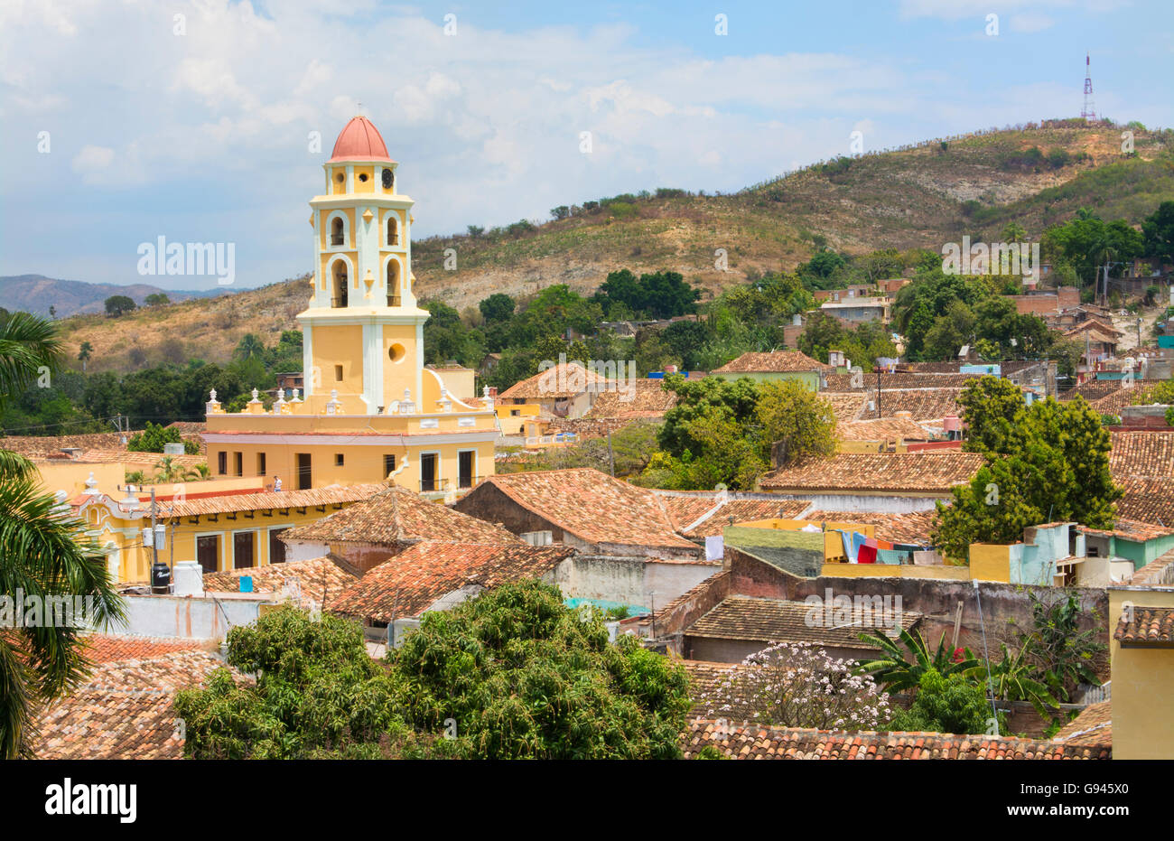 Trinidad Cuba from above tower with church and mountains with buildings of tile roofs of second oldest Colonial - Stock Image