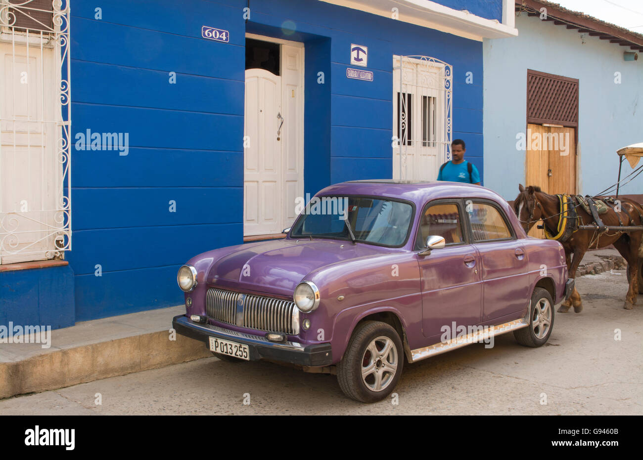 Trinidad Cuba old car on street of second oldest city in Cuba  in colonial town - Stock Image