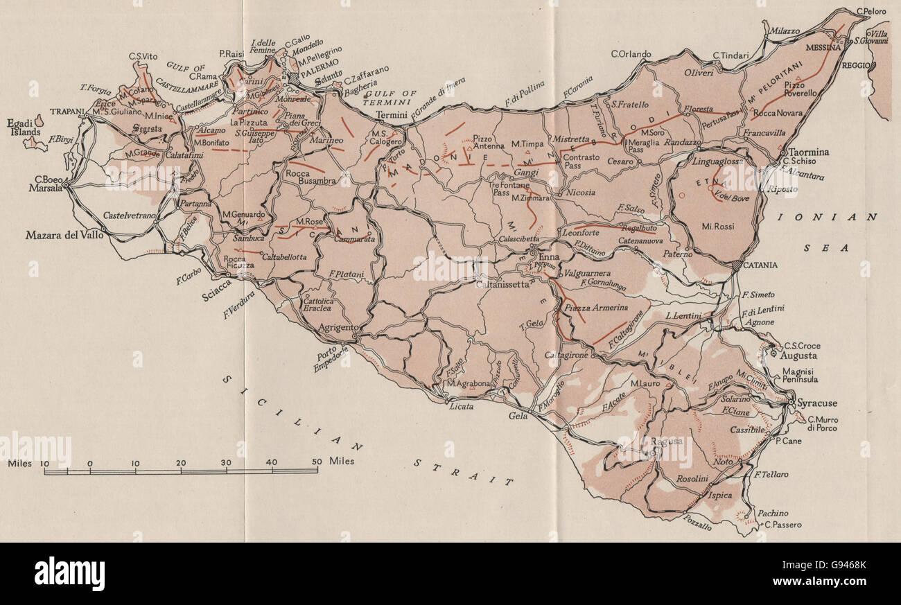 SICILY: Sketch map. WW2 ROYAL NAVY INTELLIGENCE MAP, 1944 - Stock Image