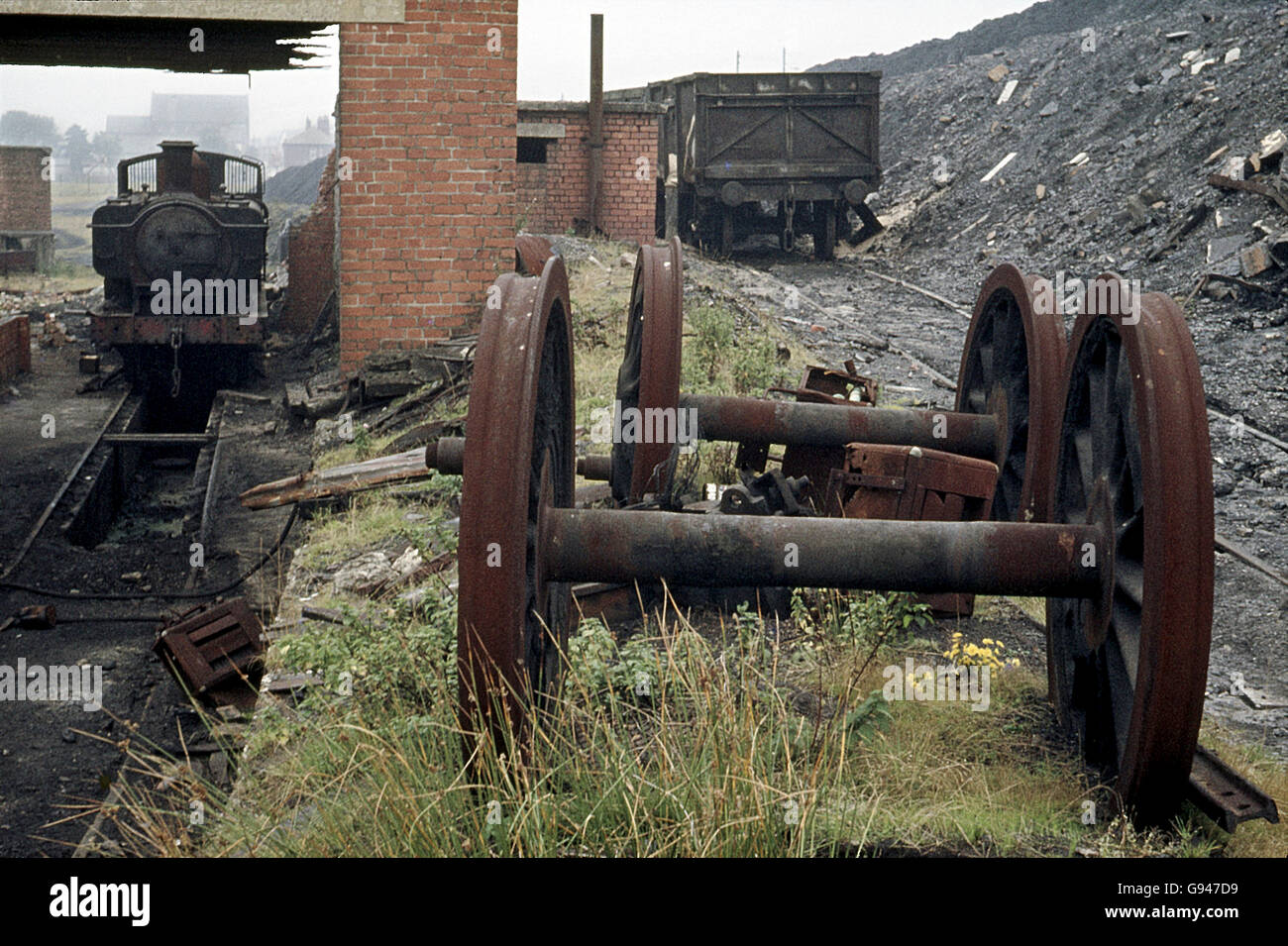 Former Great Western 5700 Class 0-6-0PT No. 9792 lies out of use at Maerdy Colliery. - Stock Image