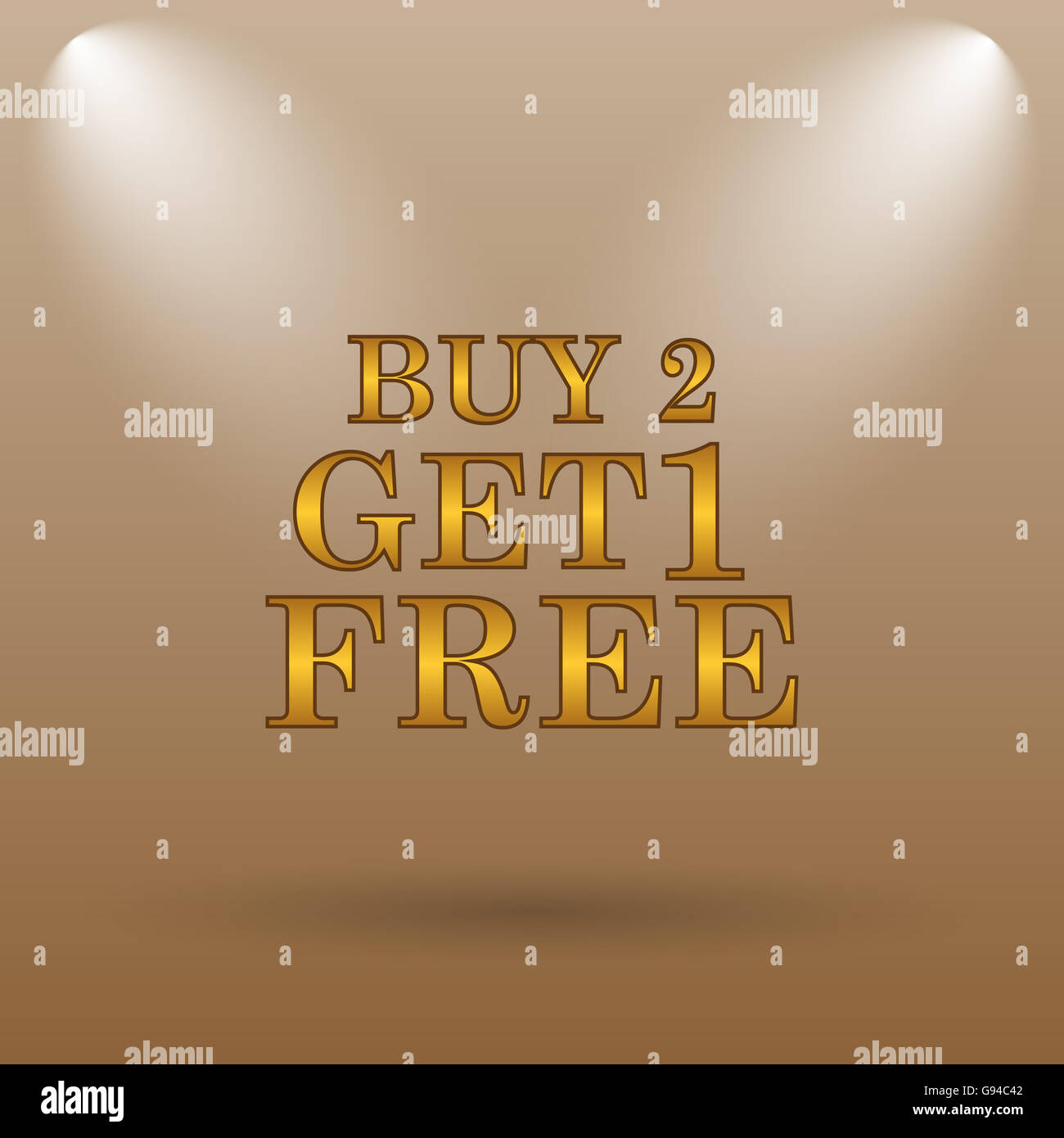 Buy 2 get 1 free offer icon  Internet button on brown background