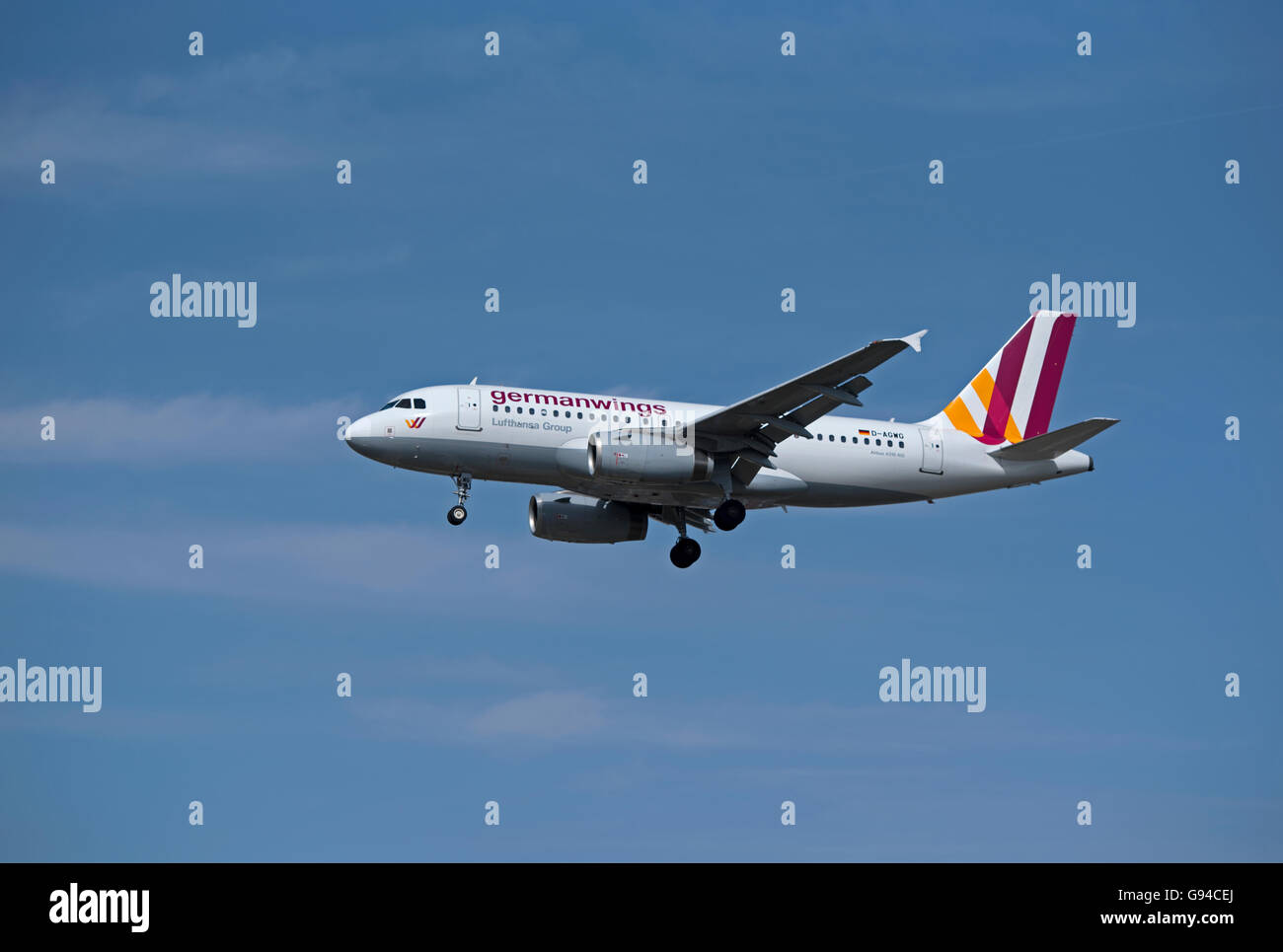 German wings Airbus 319-132 Registration D-AGWG coming into Heathrow Airport London, UK.  SCO 10,457. - Stock Image