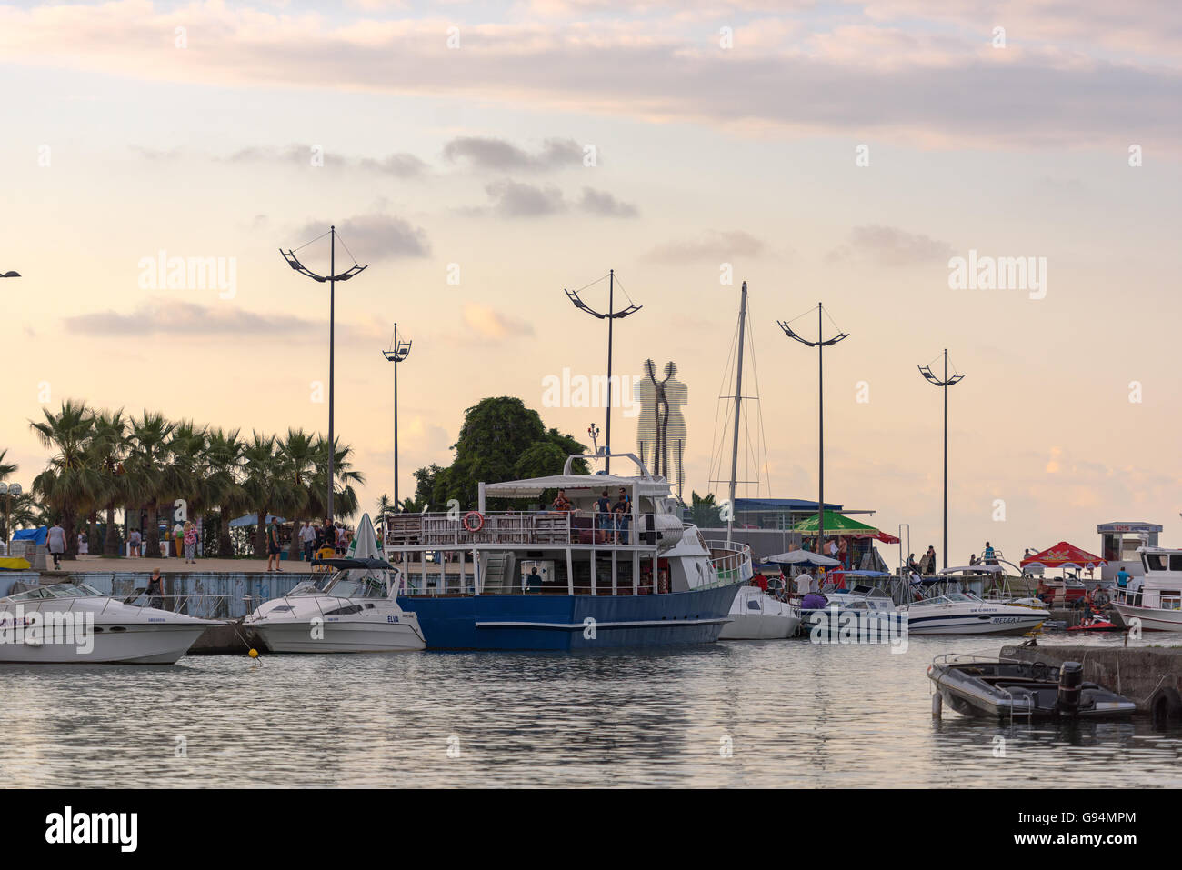 port, a view of the monument of Ali and Nino which is a symbol of love and friendship - Stock Image