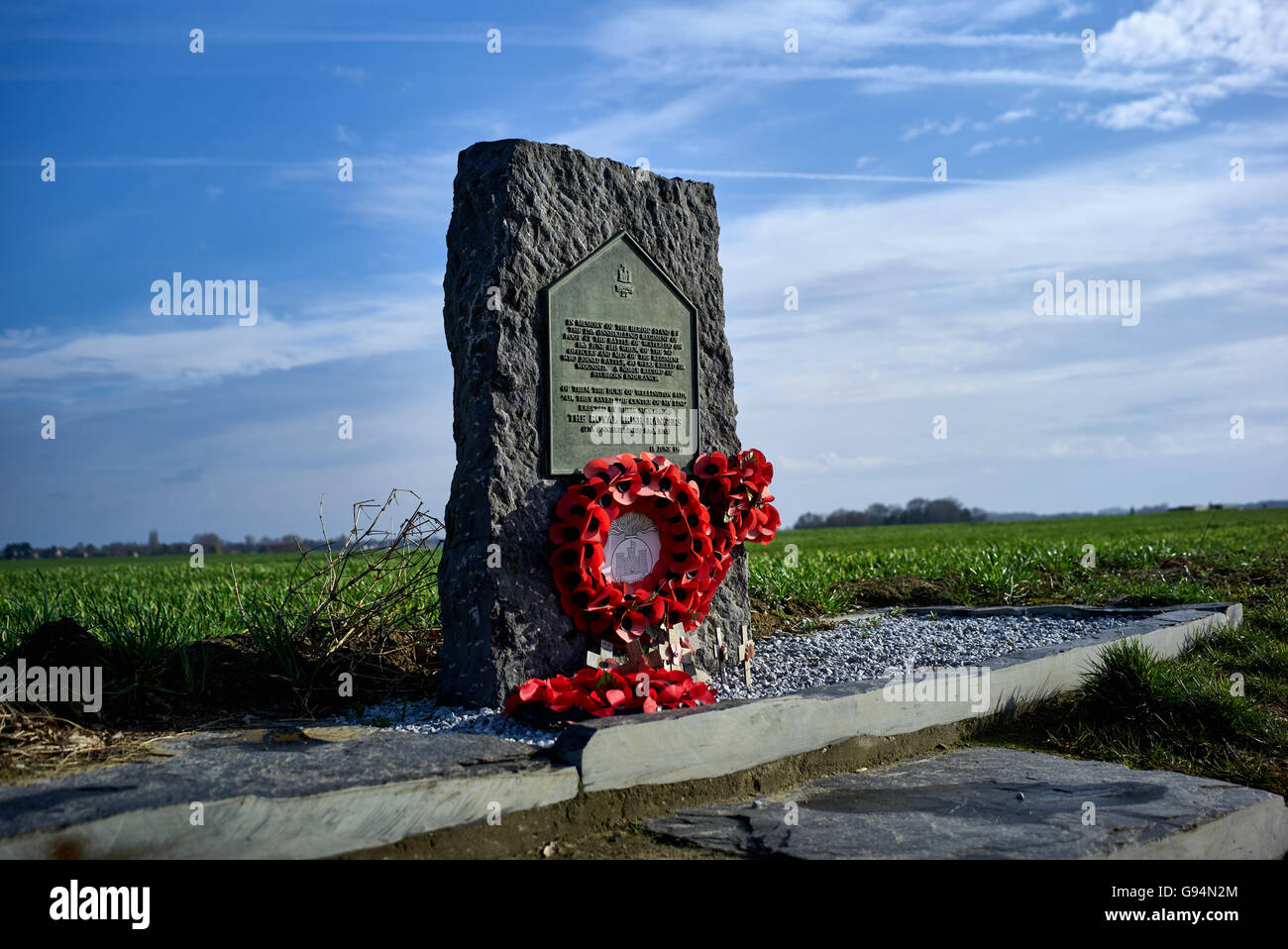 Granite monument to the Irish 27th Foot Inniskilling regiment who were decimated as they stood in a square formation - Stock Image