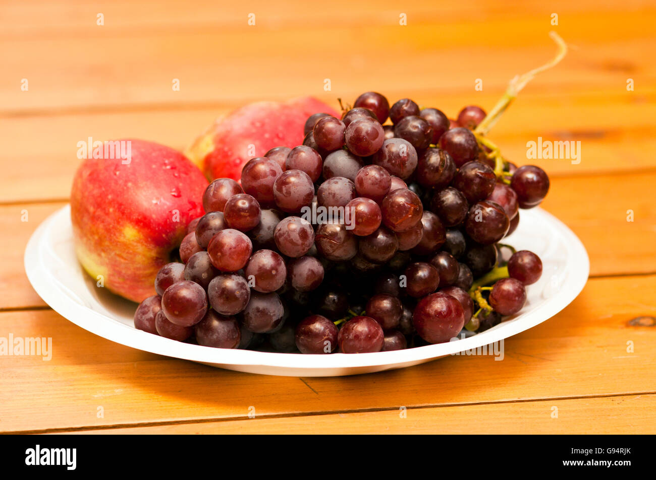 Apple and Grape Fruit Plate - Stock Image