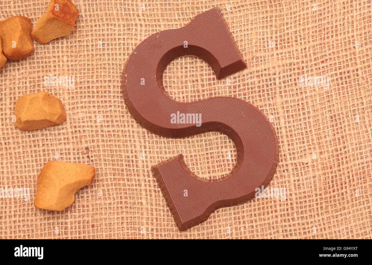 Traditional chocolate initial for the celebration of Sinterklaas, a dutch holiday on december the fifth - Stock Image