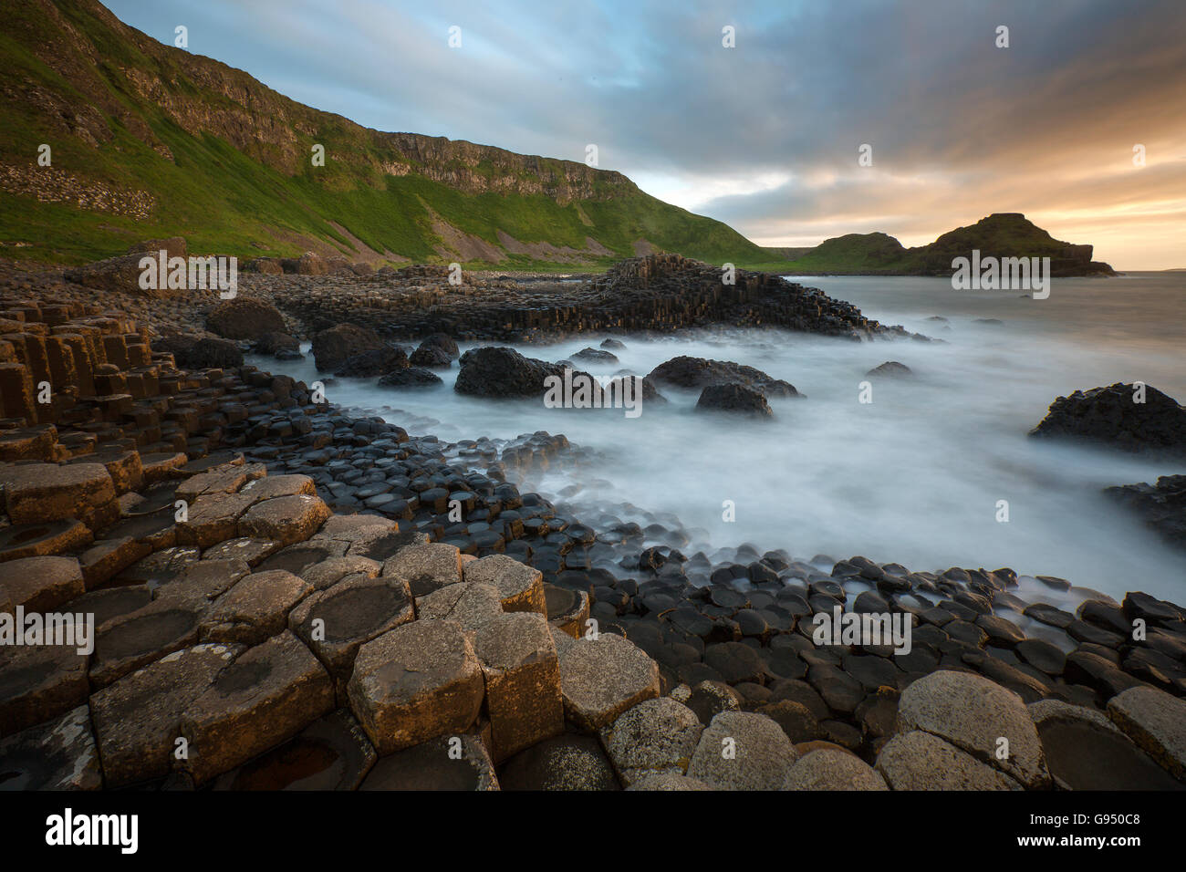 Dusk at the Giants Causeway in County Antrim in Northern Ireland. A UNESCO World Heritage Site. - Stock Image