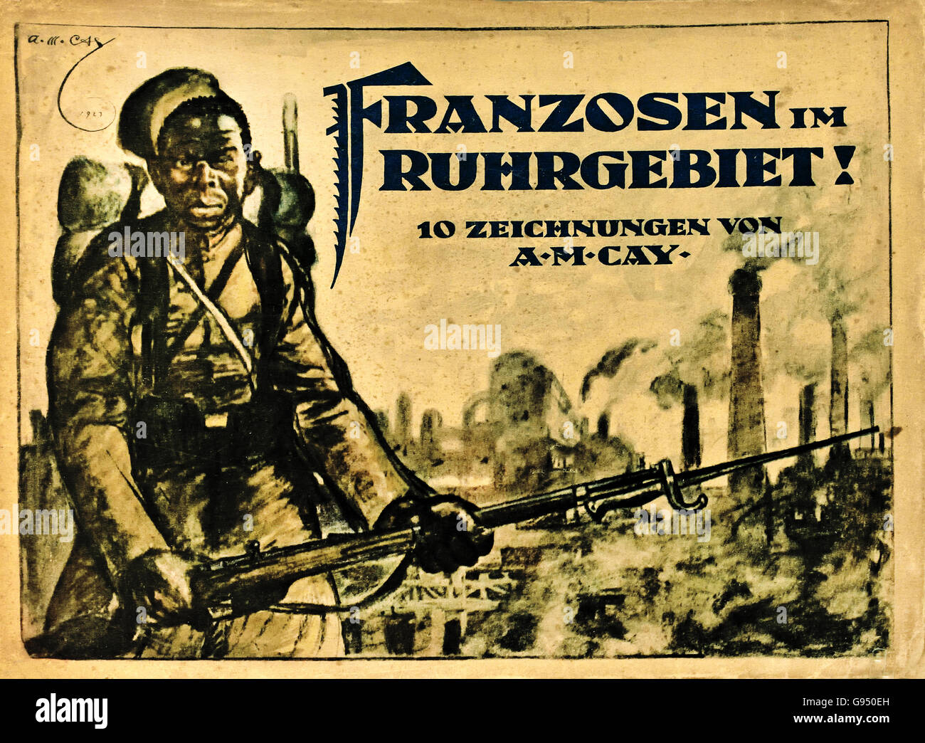 Caricatures of the French occupation troops in the Ruhr region !924 Alexander M Cay 1887-1971 Berlin Germany - Stock Image