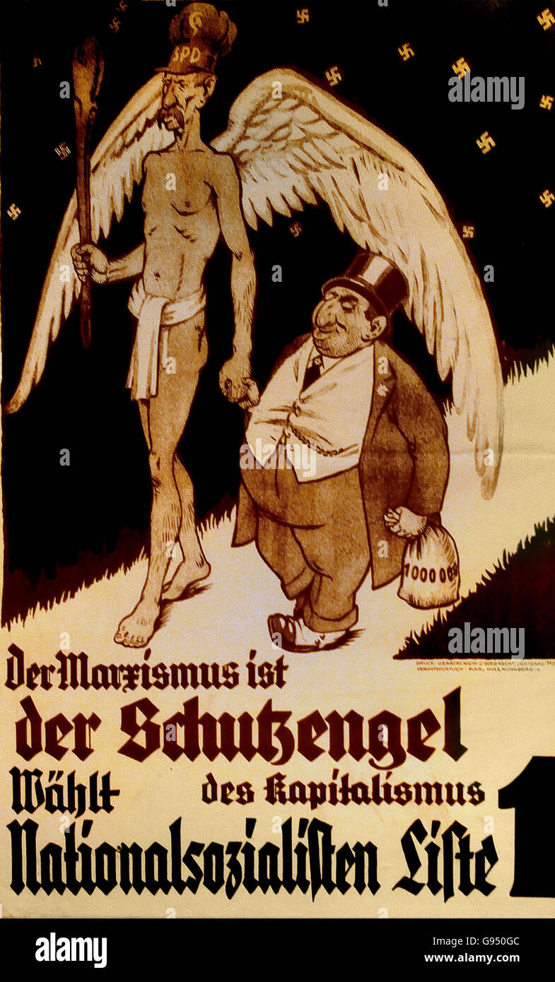 "Plakat ""Der Marxismus ist der Schutzengel des Kapitalismus - wählt Nationalsozialisten, Liste 1"" NSDAP Poster ""Marxism is the guardian angel of capitalism - selects Nazis, List 1"" NSDAP Berlin Nazi Germany Stock Photo"