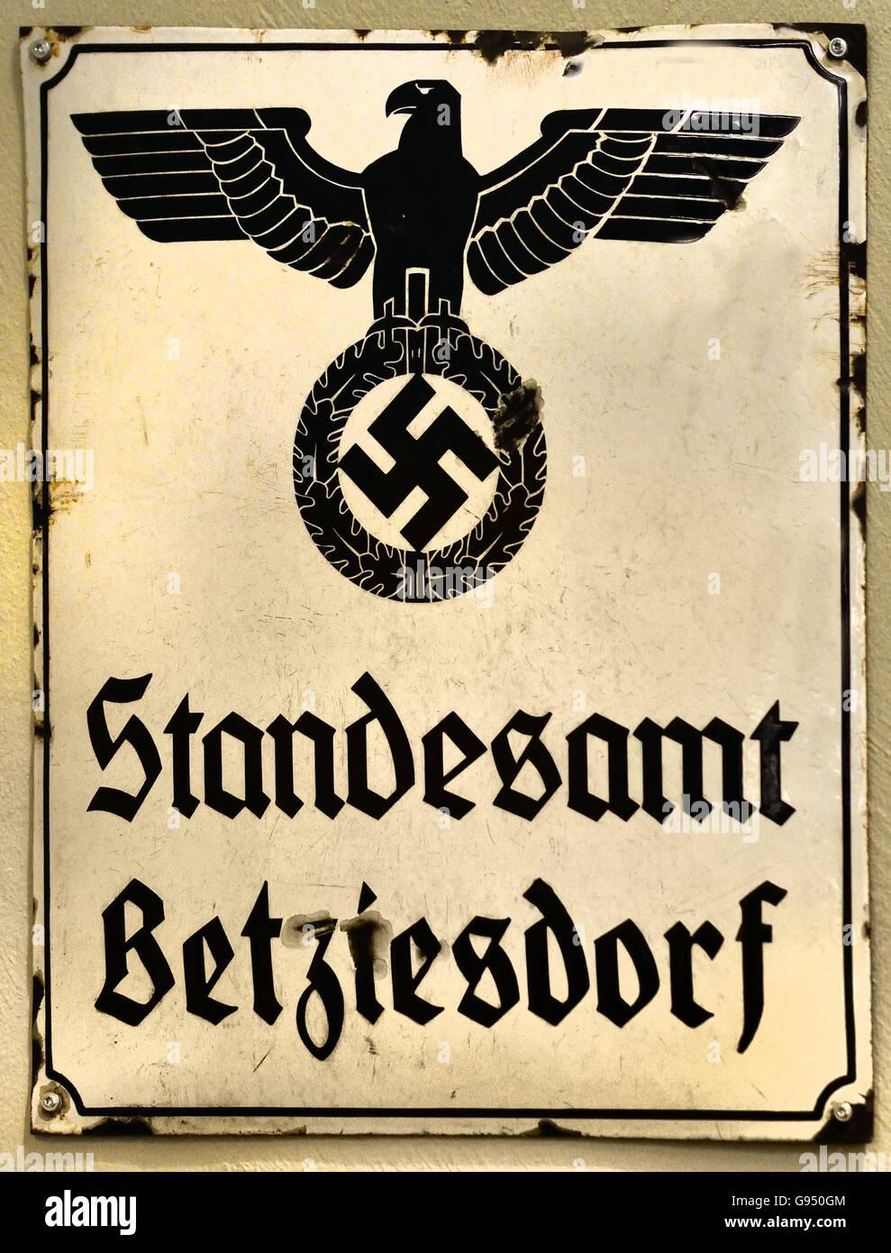 Standesamt Betzdorf - Registry office Betzdorf  Sign Berlin Nazi Germany Swastika - Stock Image
