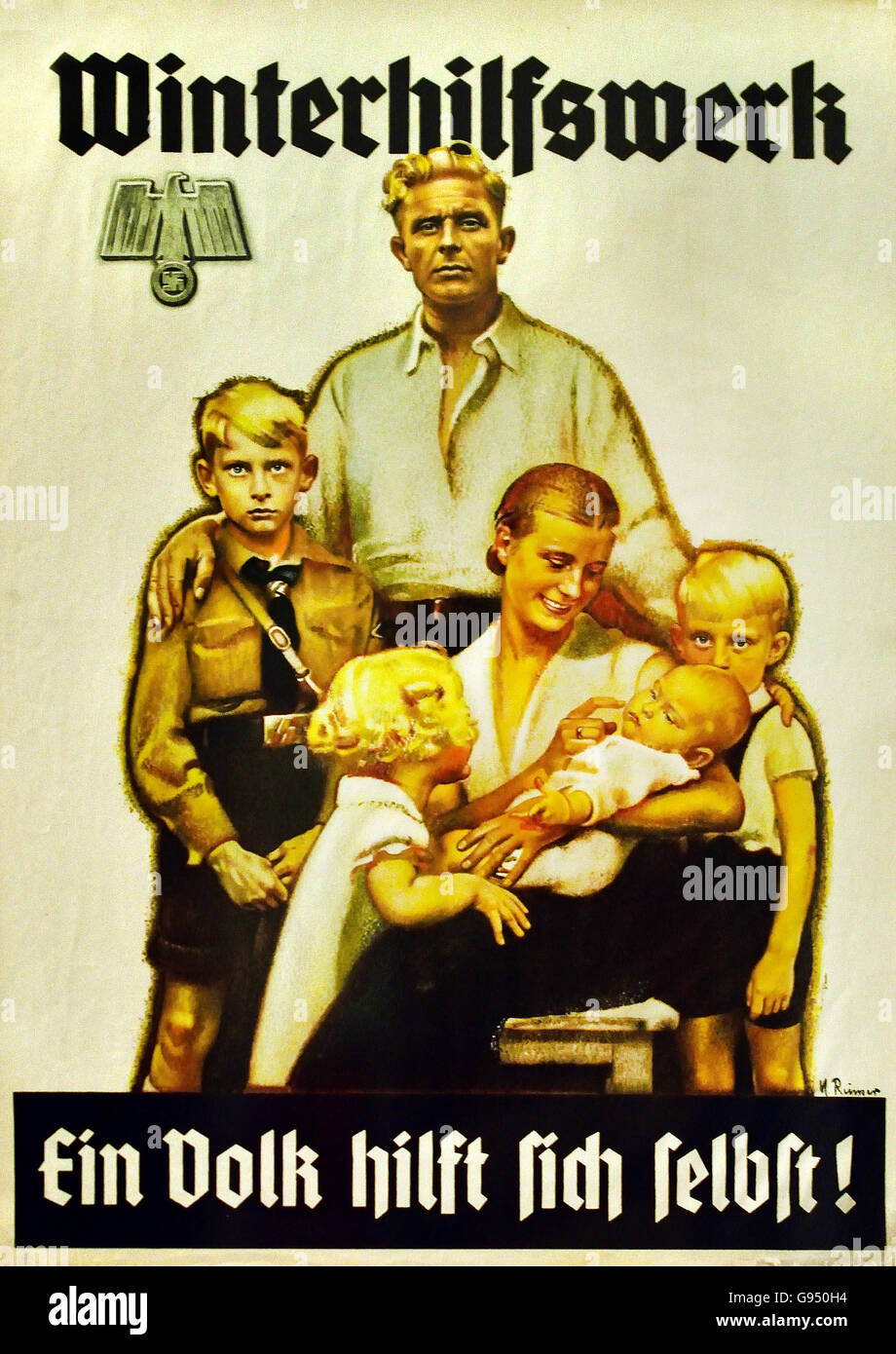 Poster promoting the Winter Relief Organization 1938 Max Reimer 1877-1970 Berlin Nazi Germany - Stock Image
