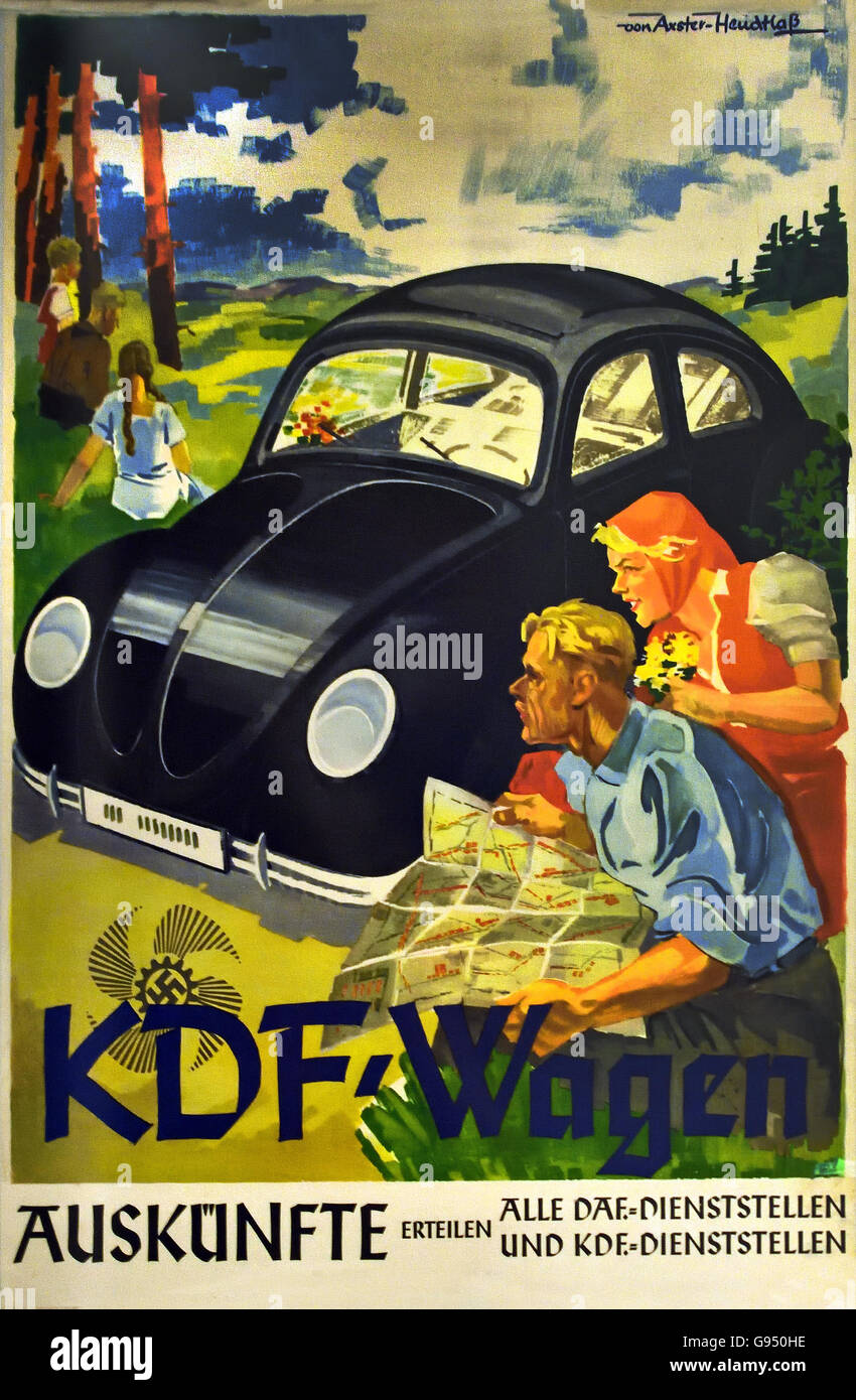 Poster advertising Volkswagen car as KdF cars 1938 Berlin Nazi Germany - Stock Image