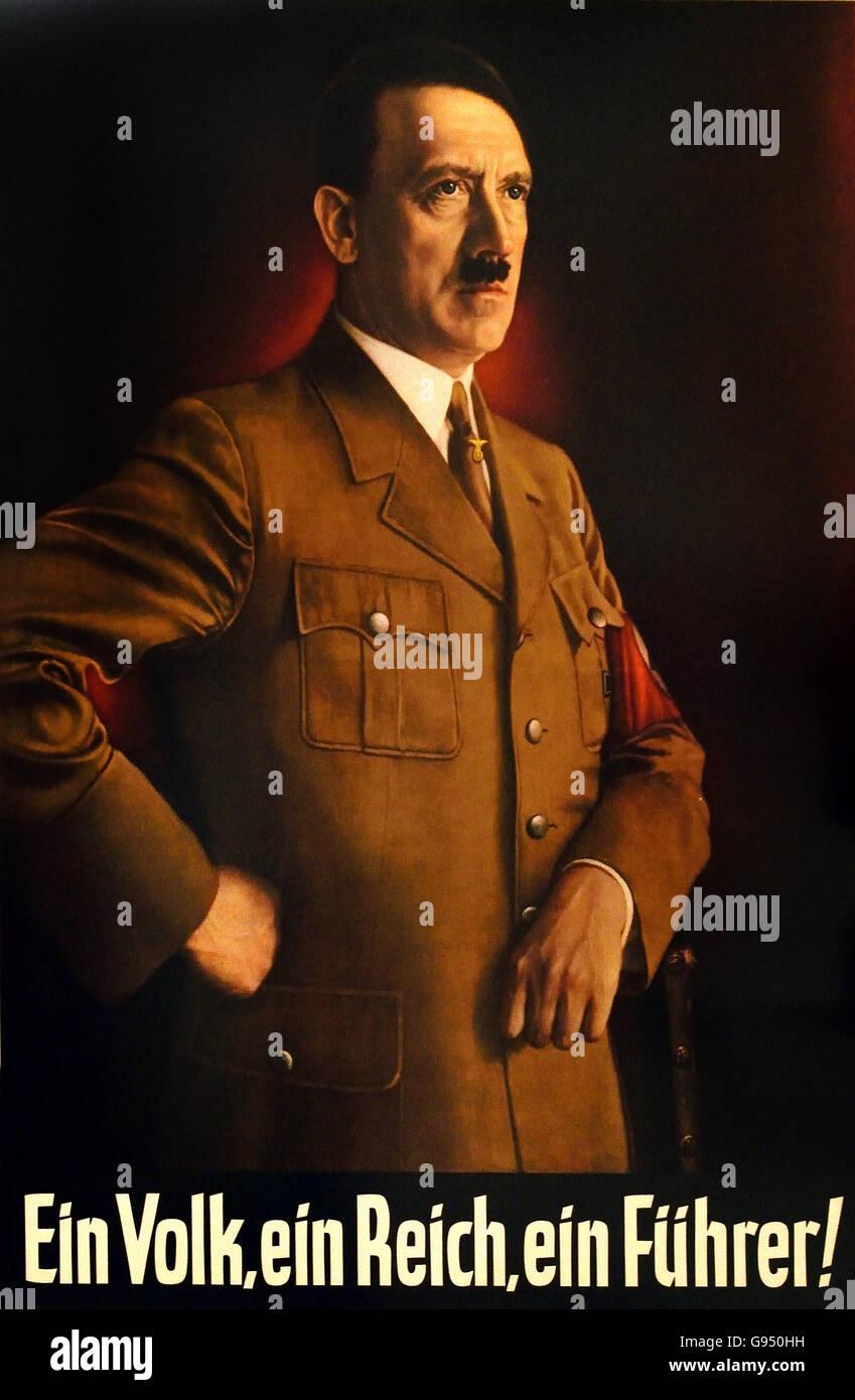 Ein Volk ein Reich ein Führer - One nation one empire one leader Berlin Nazi Germany ( Propaganda Poster ) - Stock Image