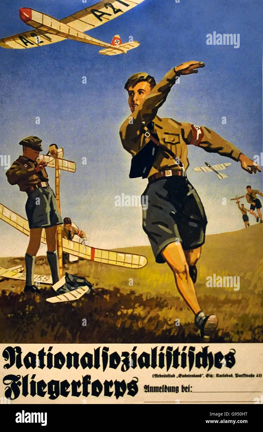 Advertisement for the National Socialist Flyer Corps  1937  Germany - Stock Image