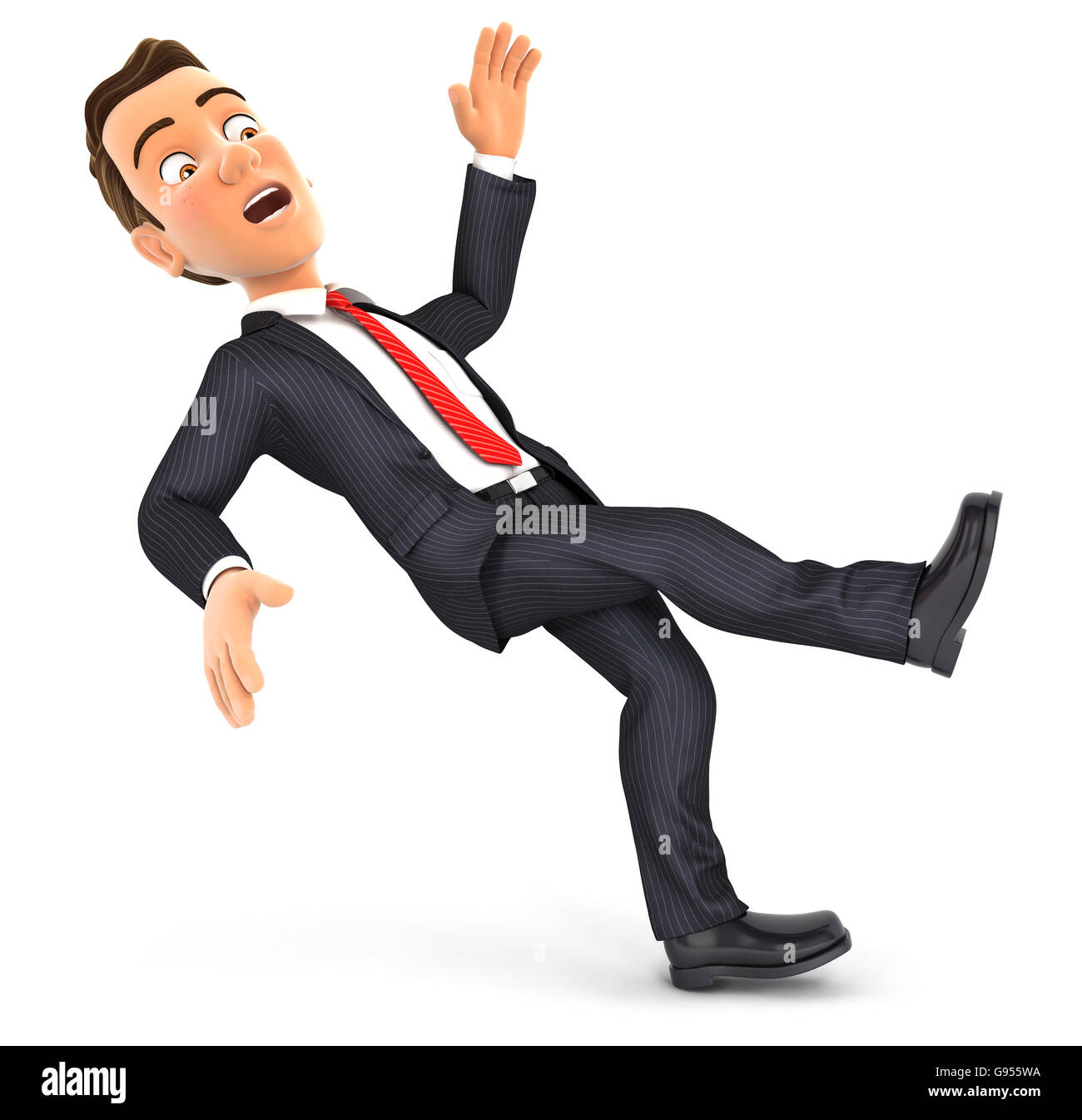 3d businessman slipping and falling, illustration with isolated white background Stock Photo