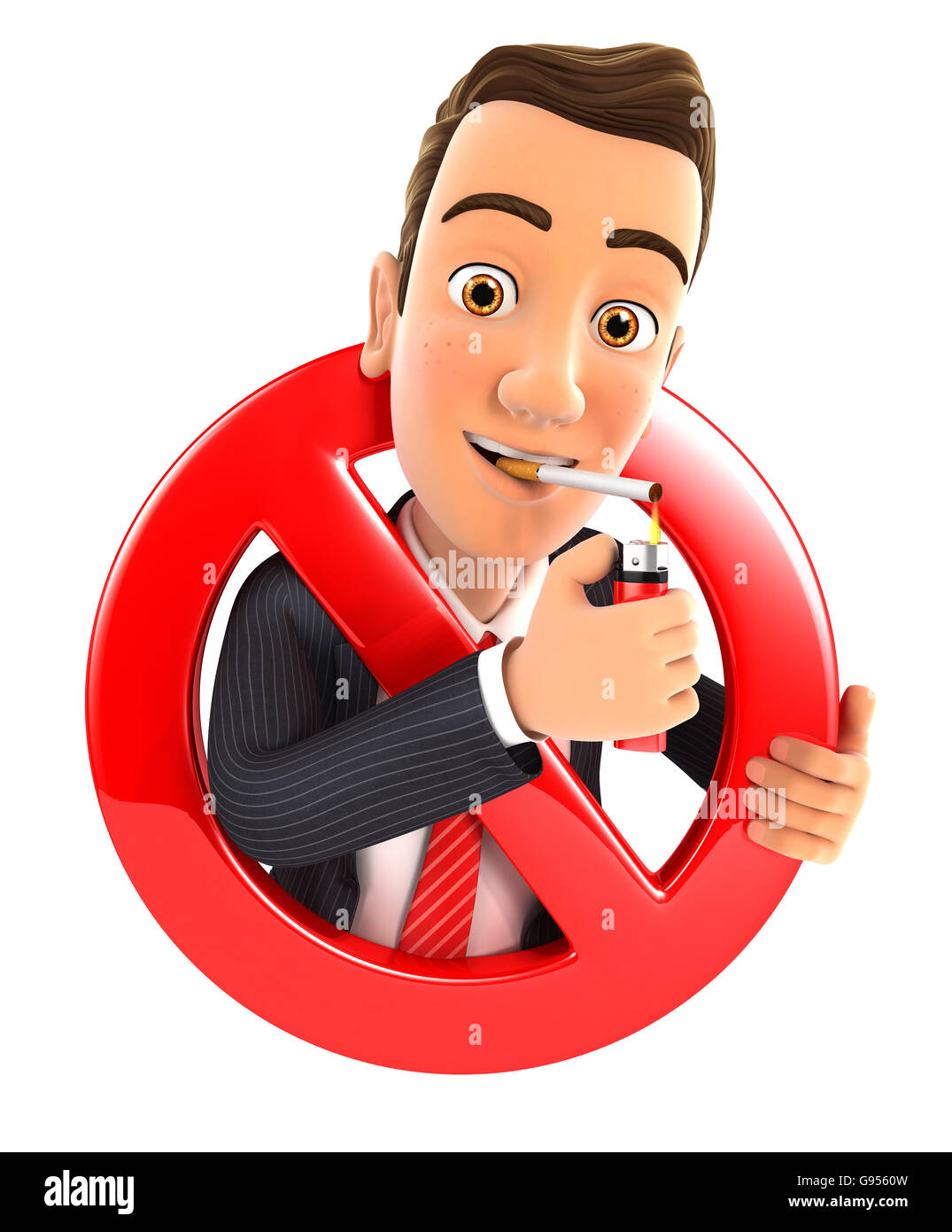 3d businessman smoking cigarette and surrounded by a forbidden sign, illustration with isolated white background Stock Photo