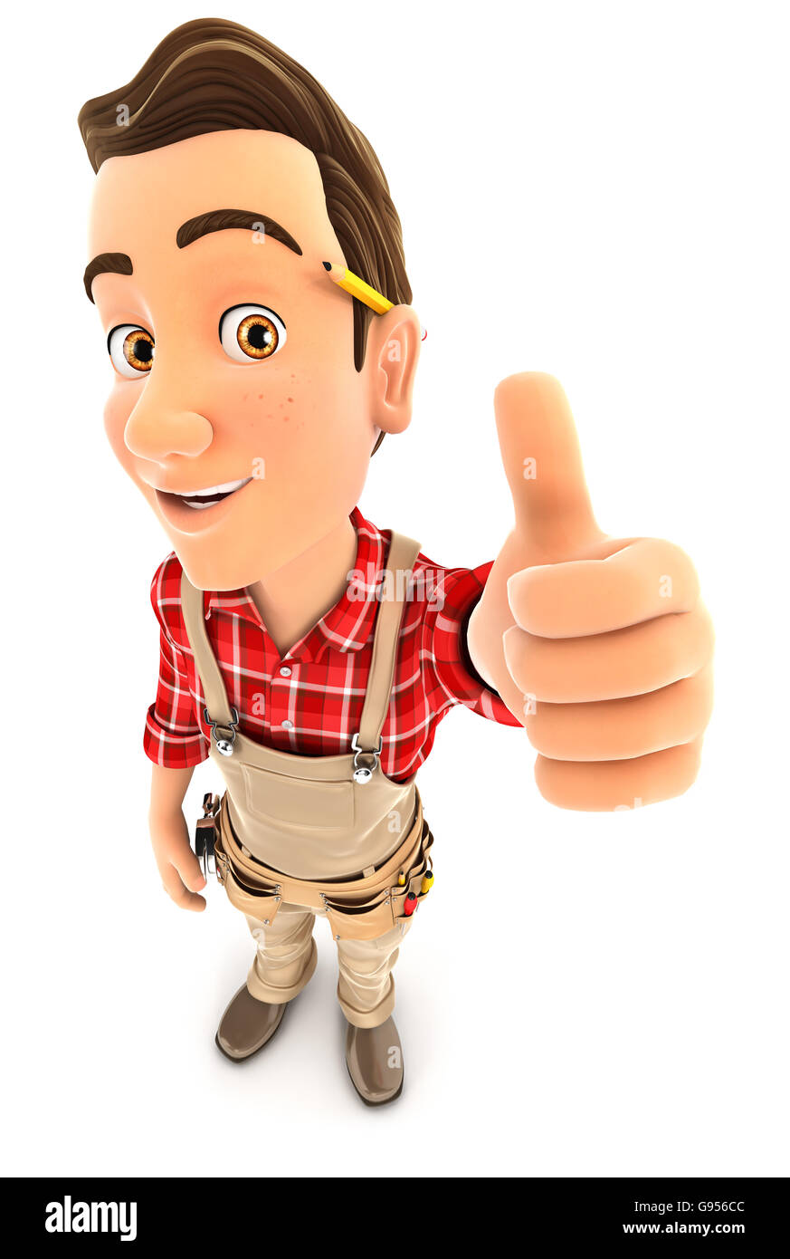 3d handyman positive pose with thumb up, illustration with isolated white background Stock Photo