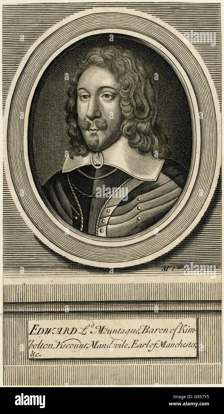 Antique engraving, circa 1700, of Edward Montagu, 2nd Earl of Manchester. SOURCE: ORIGINAL ENGRAVING. - Stock Image