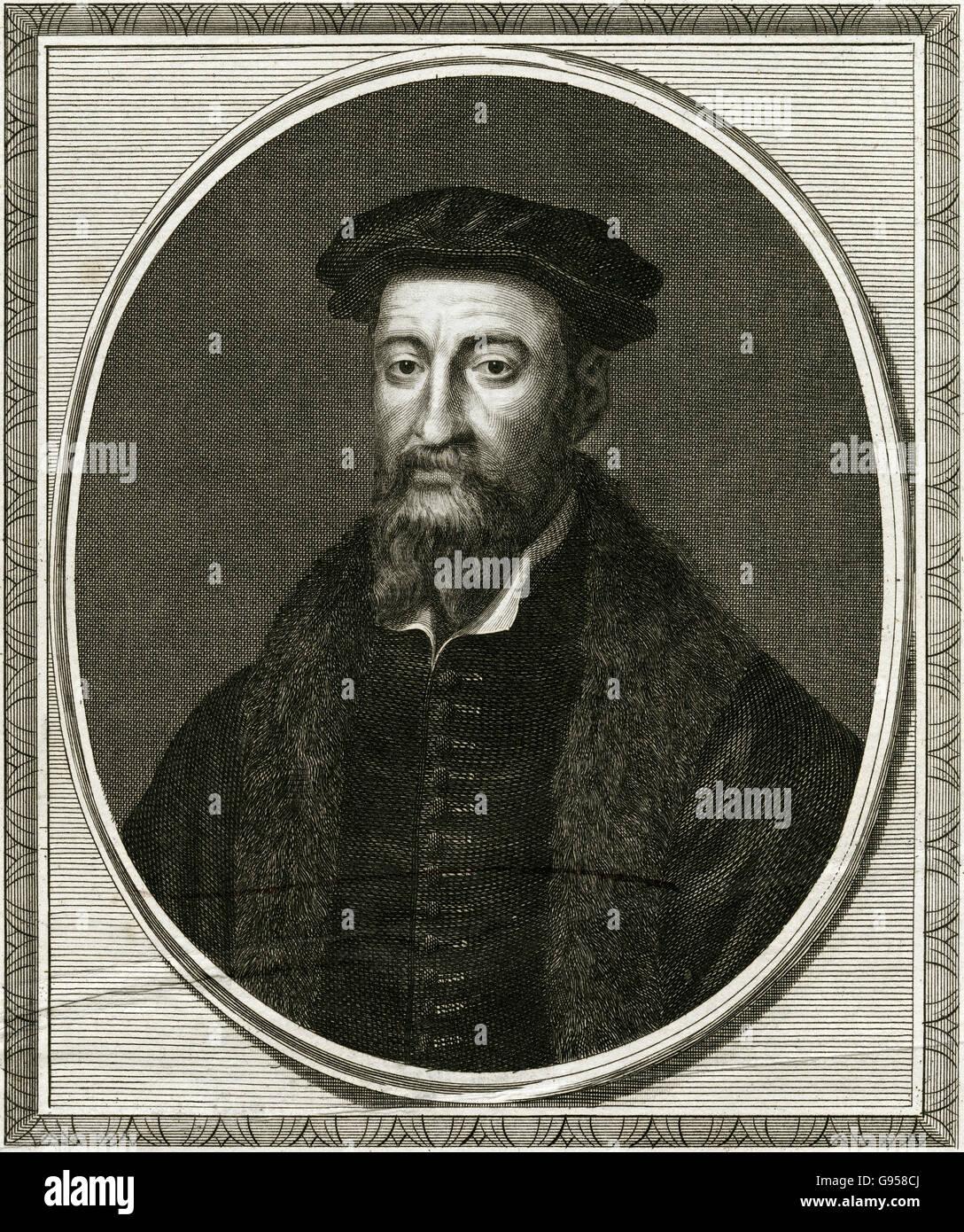 Antique 1705 engraving, Sir Thomas Smith (diplomat). SOURCE: ORIGINAL ENGRAVING. - Stock Image