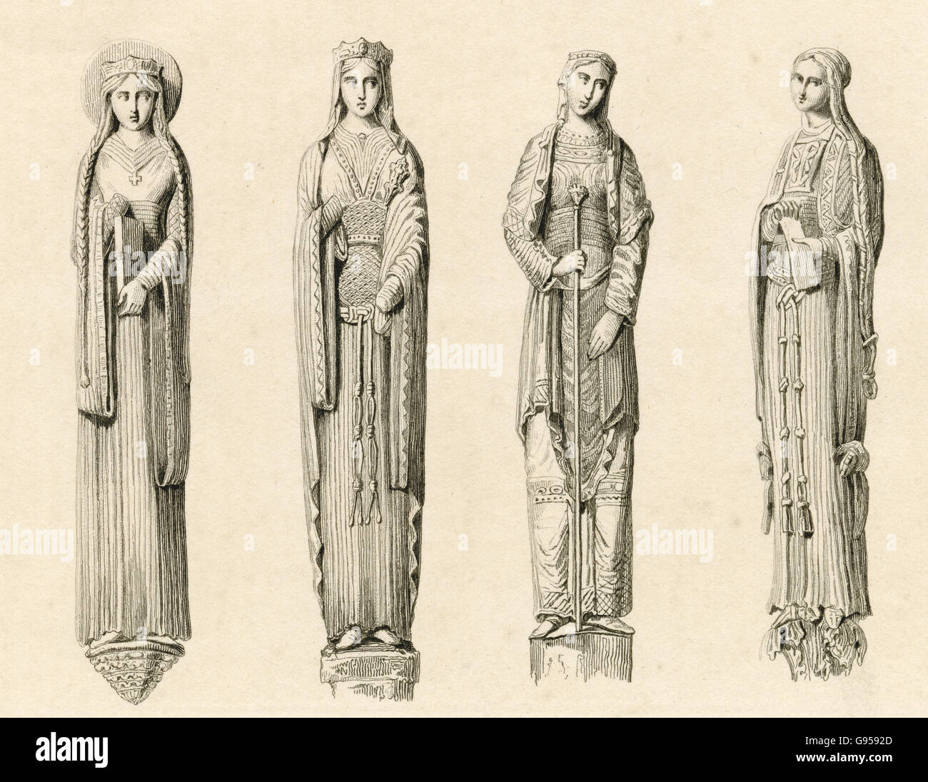 Antique engraving, circa 1880, of statues depicting 13th century figures of Queens and Princesses at the Chartres - Stock Image