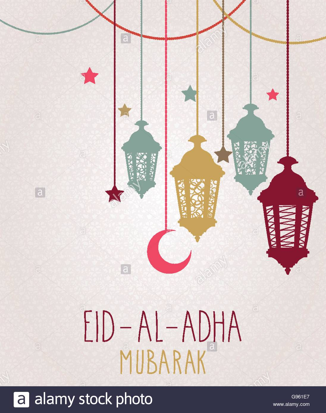 Eid al adha mubarak greeting card hanging colorful lantern vector eid al adha mubarak greeting card hanging colorful lantern vector illustration m4hsunfo