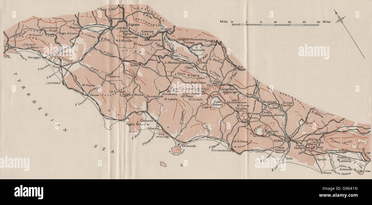ITALY: The Pre-Apennines. WW2 ROYAL NAVY INTELLIGENCE MAP, 1944 - Stock Image
