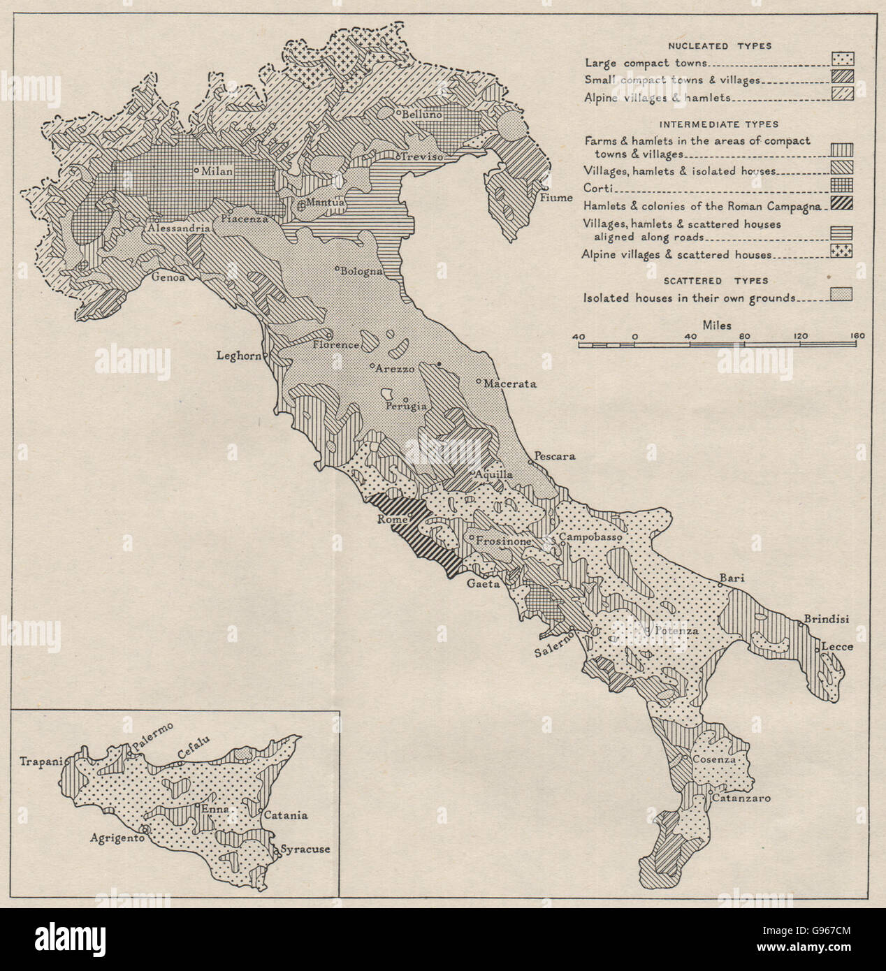 ITALY Types of rural settlement WW2 ROYAL NAVY INTELLIGENCE MAP
