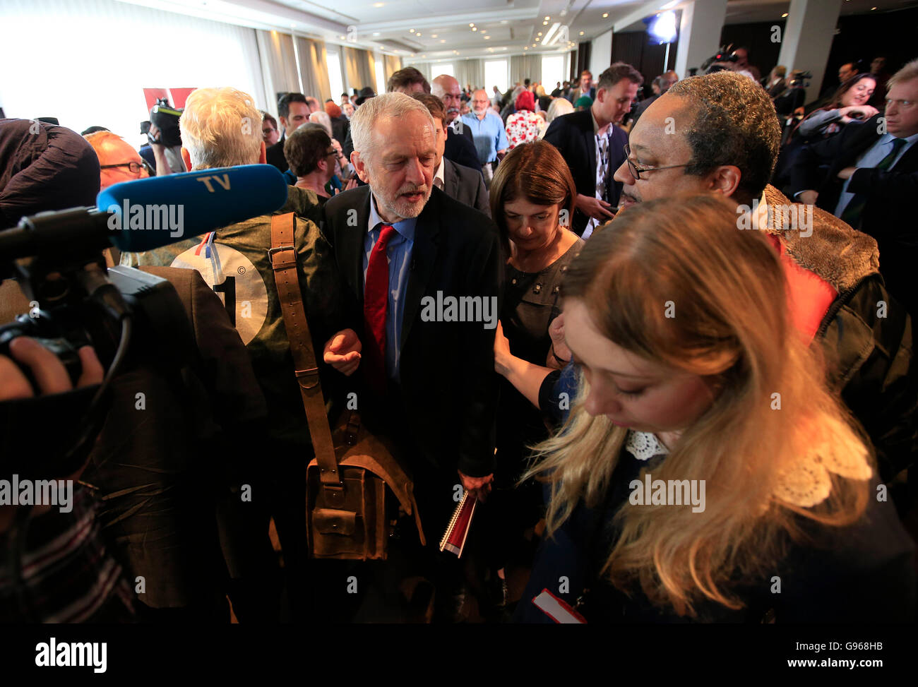 Labour Leader Jeremy Corbyn with Marc Wadswort, who runs Momentum Black Connexions, following a speech on Labour's - Stock Image