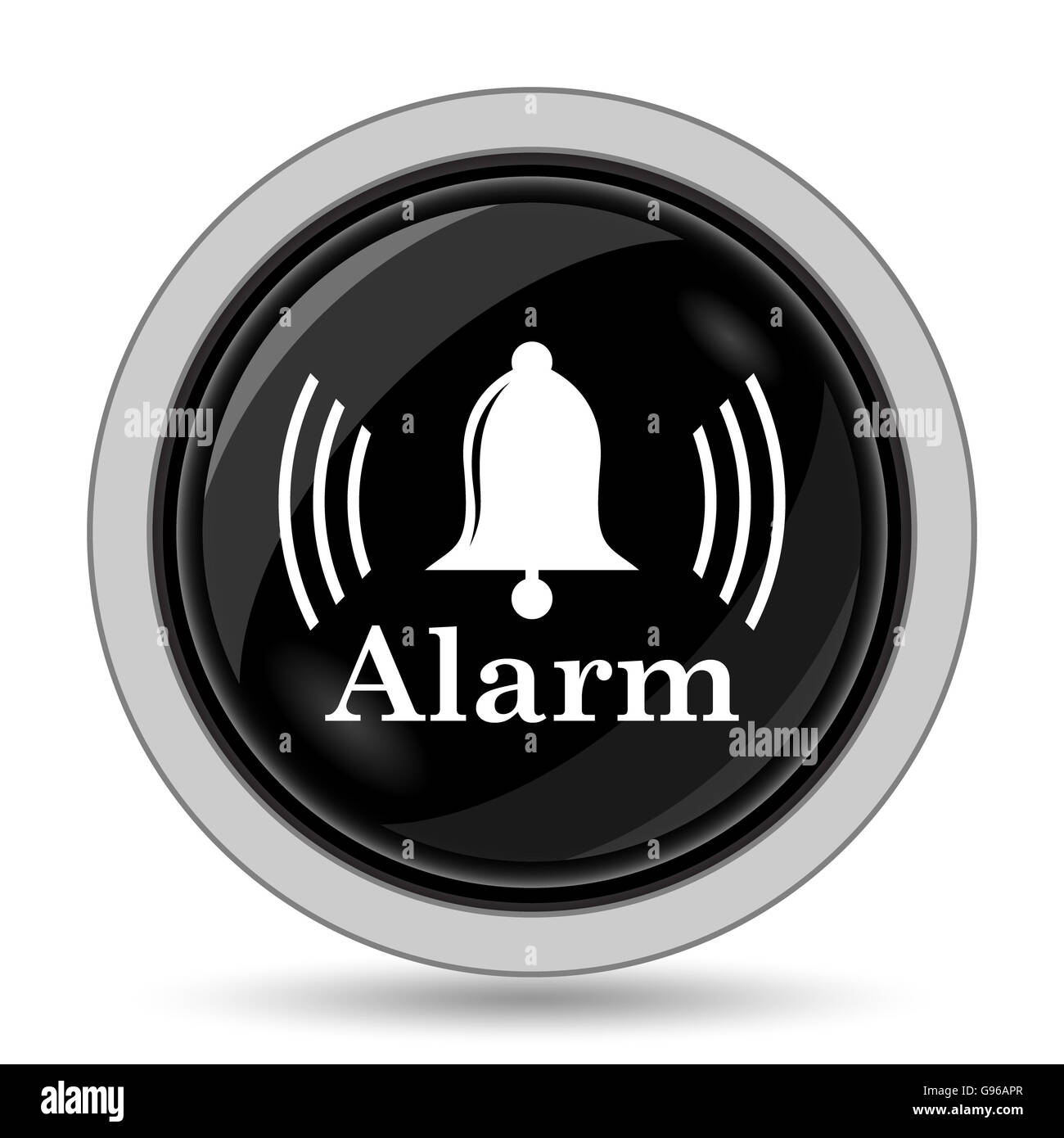 Alarm icon. Internet button on white background. - Stock Image