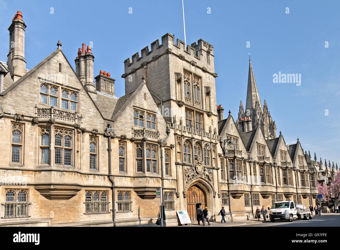 UK Oxford Brasenose College Facade - Stock Image